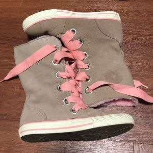 Converse Tan Suede Leather High Shoes Pink